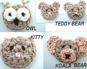 num 84... Crochet  pattern... Owl, Teddy Bear, Kitty, Koala  Bear  Appliques, instant download