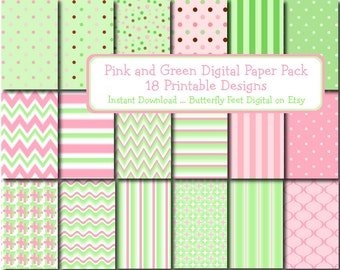 Pastel Digital Paper Pack Pink and Green, 18 Printable Designs, Scrapbooking, Card Making, Instant Download