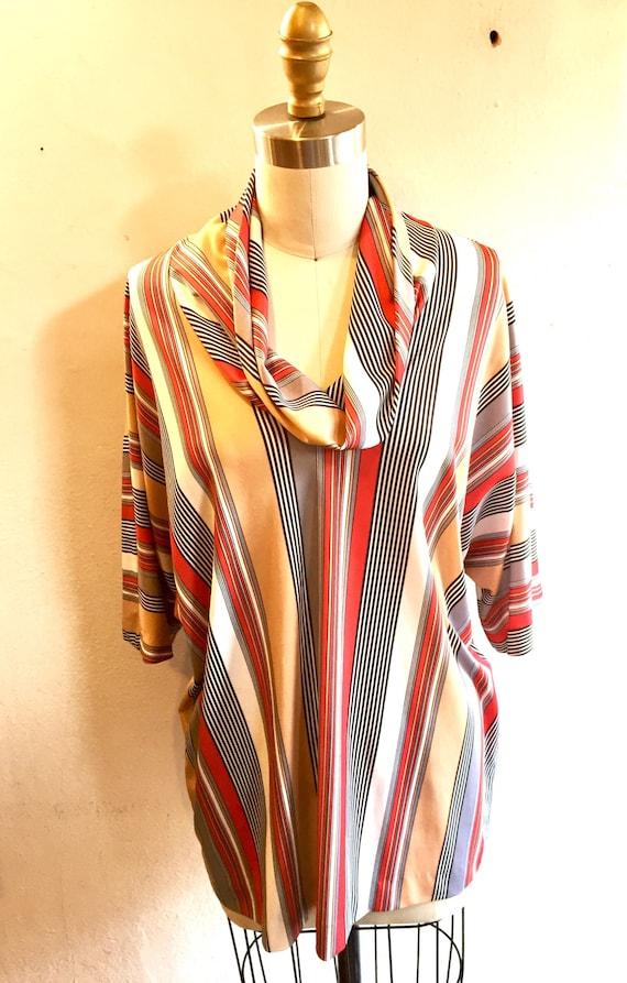 70s Cowl Neck Striped Tunic