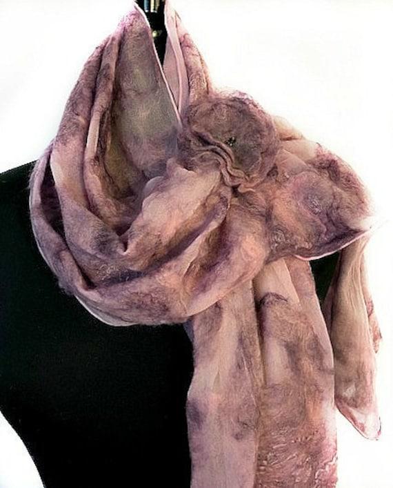 Rose Lavender Felted Scarf, Nuno Felt Scarf/Wrap/Shawl, Wedding Wrap, Bridal Accessories, Pink & Purple, GracefulEweFiberArts: Summer Garden