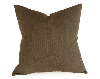 Brown Houndstooth Pillow, Brown Throw Pillow, Textured, Lumbar Pillow Cover, Wool Plaid Pillow, 14x20, Brown Black, Grey Gray, SALE