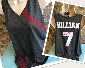 Baseball Mom Tank- DISTRESSED laces V neck Tank with name and number on back - lightweight, perfect for baseball Mom, Baseball girlfriend