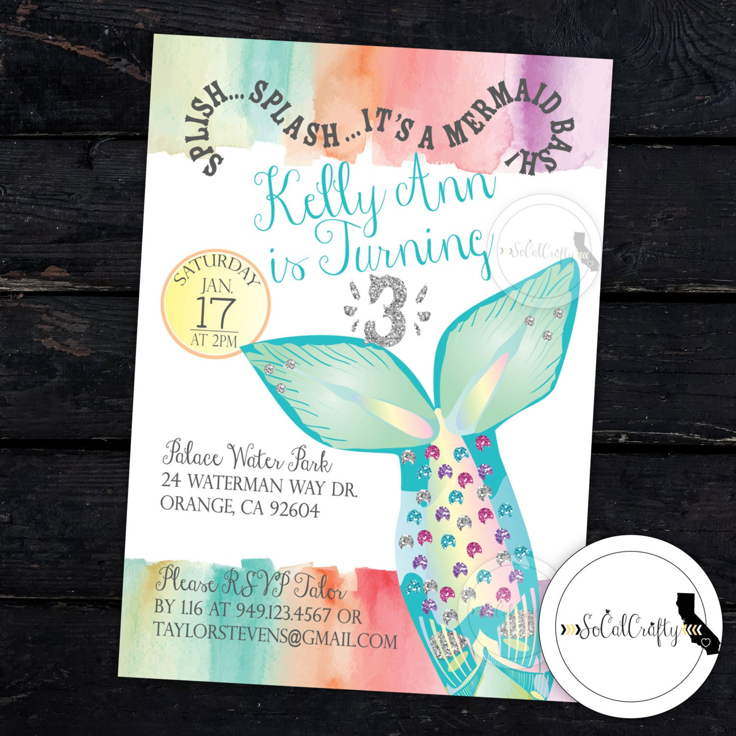 Mermaid Birthday Party Invitation Pool Party Birthday