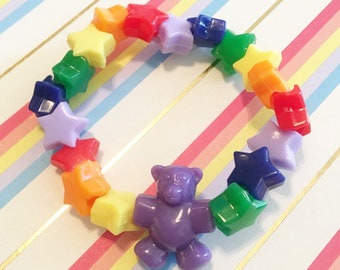 Rainbow Teddy Bear Bracelet
