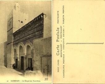 ORIGINAL Antique 1910s TUNISIA Tunisie MOSQUE Mosquee Kairouan Islam Muslim Postcard / Kairouan -Tunisia-, The Mosque of the Three Doors