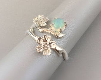 Opal With Twig Ring / Sterling Silver Sakura Ring / Opal Ring / Flower sterling silver ring / Cherry blossom ring / October Birthstone