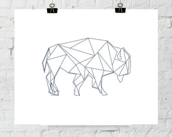 Navy Buffalo, Buffalo, Geometric Print, Buffalo Print, Printable Buffalo, Digital Print, Printable Wall Art, Bison Print, Instant Download