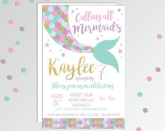 Mermaid Birthday Party - Mermaid Birthday Invitation - Mermaid Party - Girls Mermaid Birthday - Pool Party - Printable Birthday Invitation