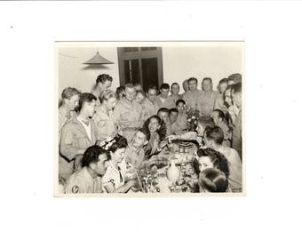 Group dining, vintage ww2 snapshot