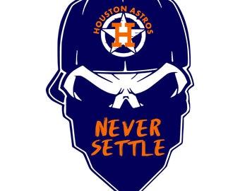 Digi-tizers Houston Astros Never Settle Skull Bandana SVG, Jpg, PDF, vinyl, decals, HTV, Cricut, Cameo, Laser engraving, Vector