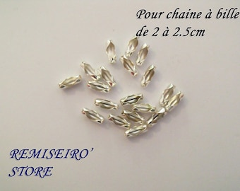 20 chain clasps 2mm to 2.5mm silver