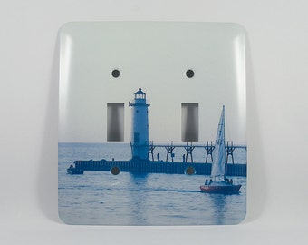 Light Switchplate, Manistee North Pierhead Light Design, Home Décor, Photograph,Nautical, Lake Michigan