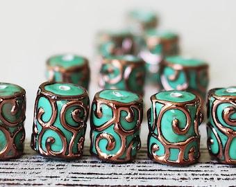 Handmade Glass Beads - Czech Lampwork Beads - Czech Glass Beads - Jewelry Making - Jewelry Supplies - 14mm Tube - Mint Green - Choose Amount