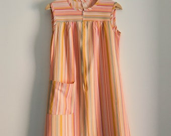 CLEARANCE 60s candy stripe shift dress / pink stripe dress / cover up / small - medium