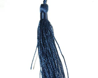 Navy cotton yarn tassel twisted 12 cm x 1.5 cm.