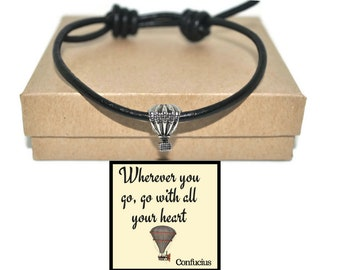 Leather hot air balloon sliding charm bracelet and Confucius quote wherever you go note card