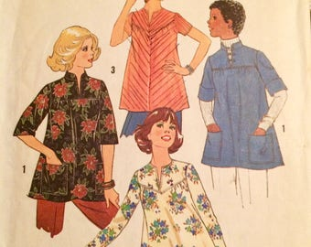 Vintage 1975 Maternity Tops Sewing Pattern Simplicity 7273 Sizes 10 Bust 32.5  inches Complete
