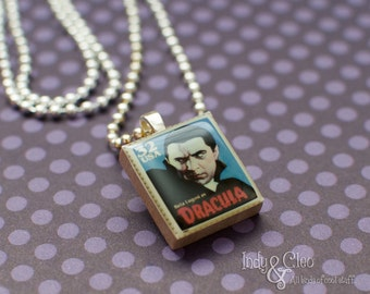Classic Movie Monster Scrabble Necklace, DRACULA Handmade Scrabble Pendant, Wood Tile Pendant, Monster Charm, Scrabble Jewelry, Halloween