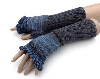 fingerless gloves, knit gray blue fingerless mittens, knitting wool arm warmers, colorful hand warmers, long gloves, knitted gauntlets