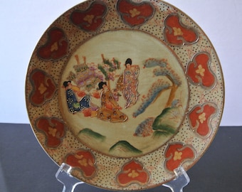 Plate - Japan - Geisha in a garden - handpainted - Rare
