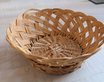 Basket tray with rattan / wicker vintage