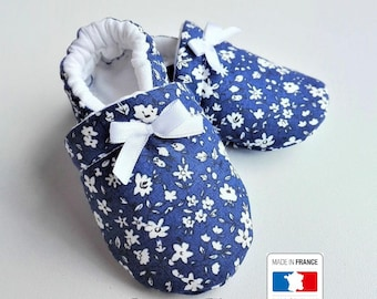SALE! Liberty blue and white baby booties