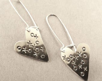 Sterling Silver Hugs and Kisses Heart Earrings