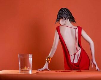 Red Backless ELLE(L)