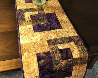 Plum and Gold Quilted Tablerunner, Modern Batik Table Runner,  Handmade Wallhanging, Reversible Table Quilt, Contemporary Dining Decor