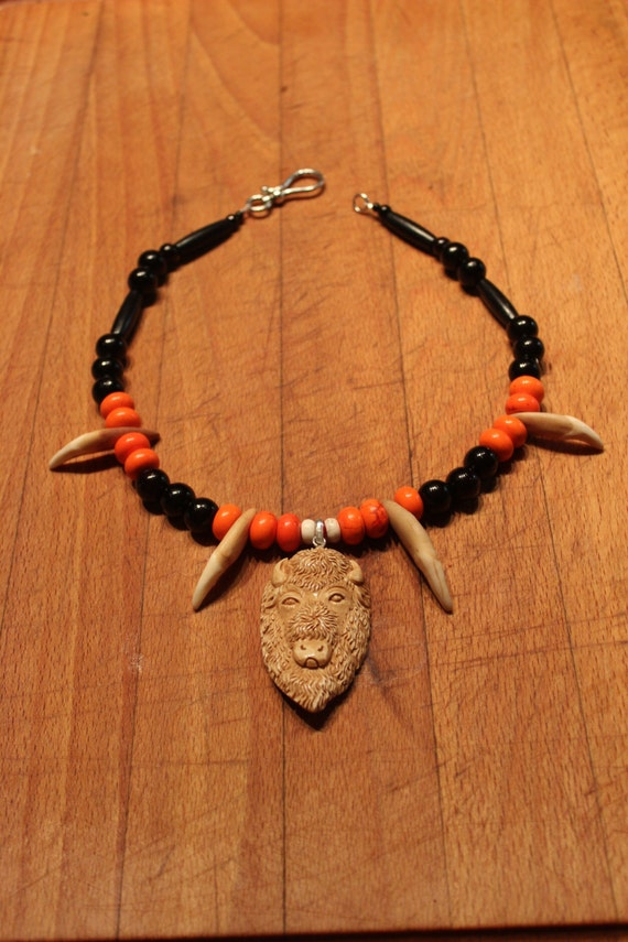 """Wolf Tooth Necklace 19"""" Carved Bone Buffalo Head Pendant Large Wolf Teeth Black Buffalo Hair Pipe Orange White Turquoise Coral Wolf Necklace"""