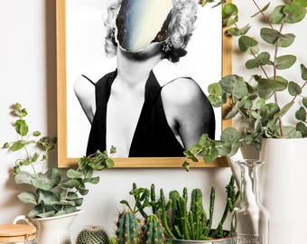 Marilyn Monroe, Collage Art, Hollywood Icon, Black and White, Contemporary Love, Simple Prints, Cliff, Minimal Art, Abstract Art, Foggy, Fog