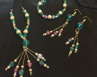 Teal/pink & silver matching jewellery set