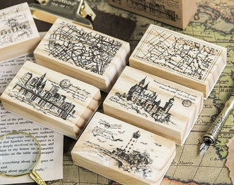 Vintage city map wood stamp/ Vintage wooden rubber stamps for scrapbooking/ stationery scrapbook/ Mail art stamps/ Traveling journal stamp