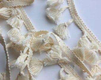 Cotton Tassel Fringe - Natural - Home Decor Quality