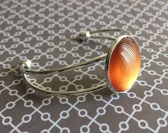 Mango Madness Silver Bracelet with Metallic Dark Orange Nail Polish Gem