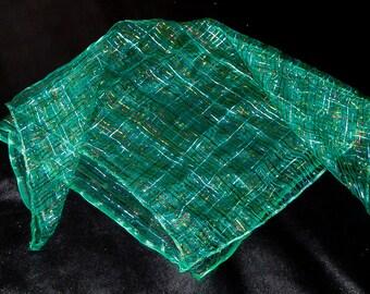 Green silk scarf boho fashion scarf vintage style scarf hippie boho scarf accessory scarf evening scarf lurex scarf metallic striped scarf