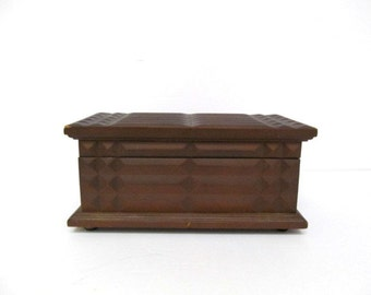 Jewelry Box, Wooden, Spanish Style, Chunky Wooden Treasure Chest, Music box, Vintage