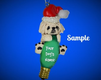 White Pekingese Santa Dog Christmas Light Bulb Ornament Sally's Bits of Clay OOAK PERSONALIZED FREE with dog's name