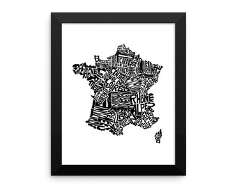 France typography map art FRAMED print customizable personalized custom country poster wall decor engagement wedding housewarming gift