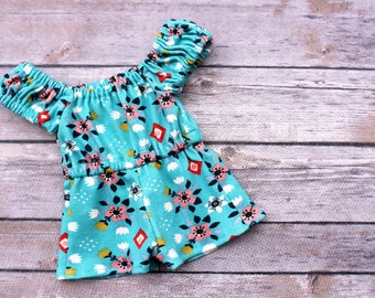 Fits like American Girl Doll Clothes - Aqua Floral Boho Off the Shoulder Romper | 18 Inch Doll Clothes
