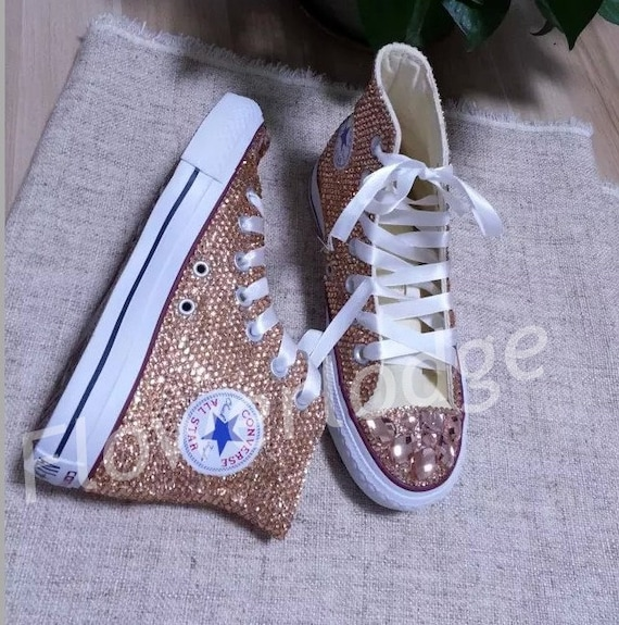 Gold High Top Converse Shoes