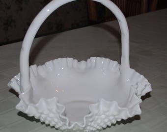 "Fenton Milk Glass Hobnail Large 10 1/2"" Wedding Basket"