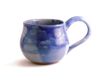 Unique Coffee Mug \ Tea Cup, Periwinkle Blue, Large Handle 10 Ounce oz pottery, Lavender Wheel Thrown Pottery stoneware