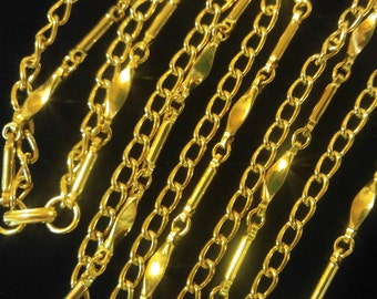 Lovely Bright Gold 2-Strand Chain Necklace- Interesting Chains!