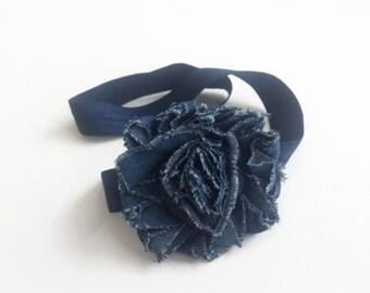 Shabby chic headband: Denim shabby chic flower, Girls headband, baby headband. Denim headband. navy headband
