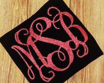 Girls monogram longesleeve shirt/Glitter~ruffles.