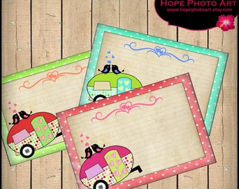 Happy Camper Valentine Digital Collage Sheet Postcards 4x6 retro journal tags greeting cards hearts love - U Print 300dpi jpg