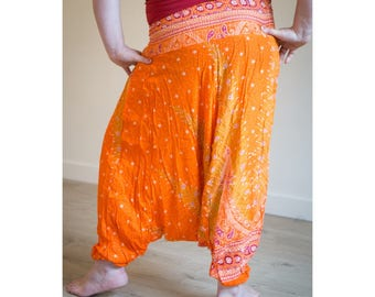 Orange Red Thai Harem Yoga Pants | Tribal Fusion Haram | Gypsy Hippie | Belly Dance | Pyjamas | Burning Man Festival Rave Clothing |