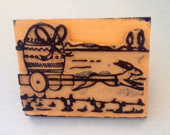 Vintage 1950s  Rubber Stamp, Easter bunny   with Easter egg Large size Rubber Stamp, Spring