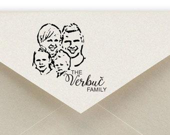 custom,  handmade custom stamp , portrait stamp,  stampin up,  rubber stamp,  family portrait,  return address stamp